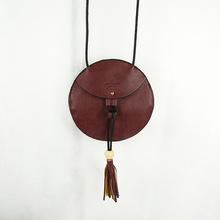Trending hot products genuine leather handbag round studded shoulder bag for lady