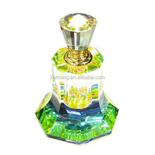 2015 hot sale decoration gift green crystal perfume bottle products