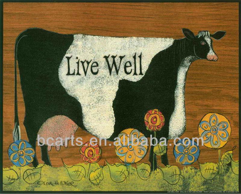ภาพวาดสีน้ำมันการ์ตูนวัวนม