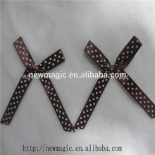 café 1cm baby satinado arco de la cinta con el logotipo impreso