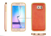 New Luxury Slim Metal Aluminum Frame+Chrome Leather Back Case Cover for Samsung Galaxy S6 S5 S4