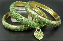Green crystal heart bangle set handmade african friendship bracelet