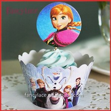 Ice Snow Girls Elsa Anna Cupcake Wrappers&Toppers Picks Decoration Kids Baby Birthday Party Supplies Paper Party Decoration
