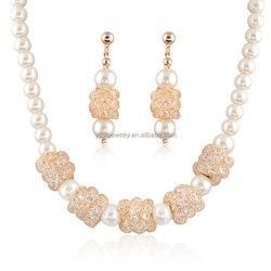 lady dress elegant cheap big fashion dubai gold hand made pearl beads jewelry set