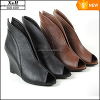 HOT New 2015 Brand Autumn Women Winter Shoes Genuine Leather Ankle Boots Heels Platform Wedge Classic Colors Height Increasing