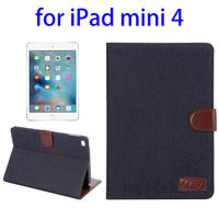 High quality Denim Texture Leather stand case for ipad mini 4 cover