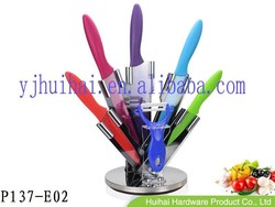 2015 new product--- 6pcs colorful kitchen knife set with PP handle in acrylic block