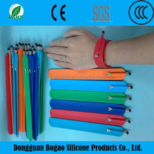 Wholesale China Supplier Promotional Gift Silicone slap band with printing logo Silicone slap bracelet with touch pen