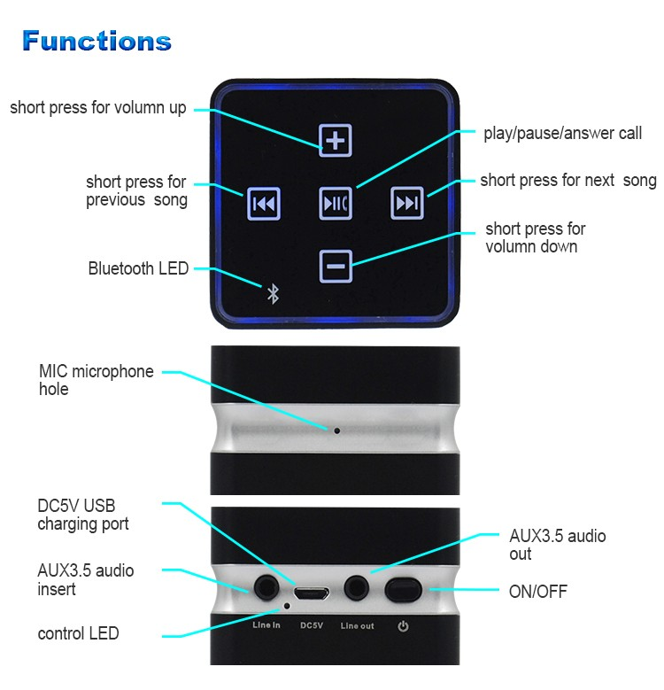 professional stage boombox wireless stereo bluetooth usb deluxe mini speaker gift