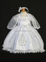 2015 hot sale fashional girls christening/bapism dresses with wraps,ball gown flower girl dress with hair clasp