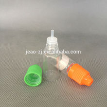 China manufacturer plastic 10ml e-liquid nicotine bottle with childproof cap