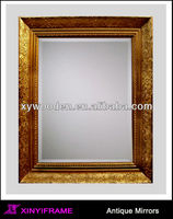 Turn of The Century Antique Framed Carved Flower Mirror