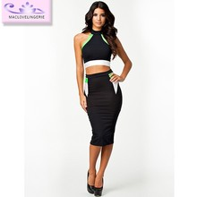 ML17945 2014 New Arrival Sexy Black Jupe Crayon Wholesale Two Piece Bandage Casual Dress Pattern