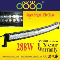 Wholesale 4X4 Curved High Lumen 288W 50inch Car LED offroad Light Bar, 12V 24V IP67 Dual Row Radius LED Working Light