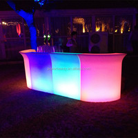Outdoor party used led illuminated combined rechargeable furniture bar counter led bar