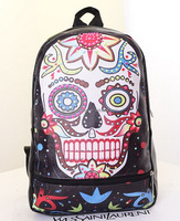 2014 Latest Style Fancy Colorful Skull Printed Pu Leather Travel Backpack Bag Knapsack Shoulders Bag For Teenagers