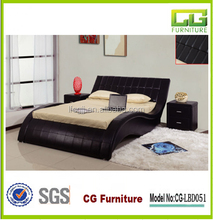 modern 2015 streamline look black pu leather bed in queen size