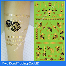 2015 hot sale 3D temporary tattoo metallic fan and butterfly water transfer tattoo sticker