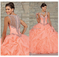 Stunning Peach Organza Ball Gown Quinceanera Dresses 2015 Sheer Beads Crystal Draped Cheap Fashion Princes sdress quinceanera