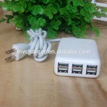 De alta calidad 5v 6a 6 puerto usb de escritorio rápido cargador. Inteligente usb cargador