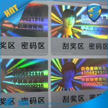 Custom design label printing hologram/hologram scratch