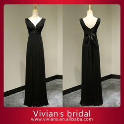 100% real photo Black V neck cap sleeves A-line beaded chiffon evening dress with bow EV198