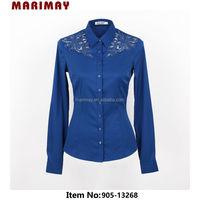 Shirt design long sleeve lace shirt fashion vetement femme for ladies office wear