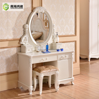 Modern European Pastoral Style White Finish Wooden MDF Bedroom Vanity Table Desk Cabinet Dresser with Makeup Mirror and Stool