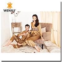 Customized Printed Pattern Sexy Mature Women Silk Sleepwear