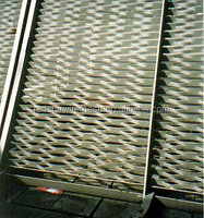 Expanded metal mesh panels used in table and chairs
