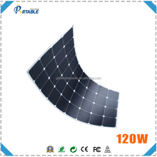 hot selling 120W semi-flexible solar panel with SUNPOWER CELL for boat/caravan/golf cart