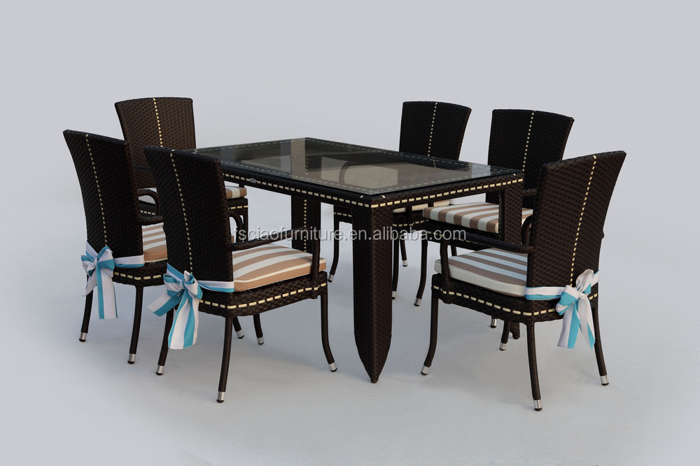Dining used outdoor garden rattan party tables and chairs for Used patio dining sets