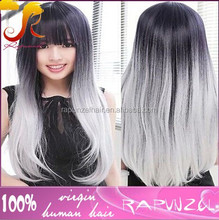 Indian remy gray hair full lace wig grey hair lace wig with bangs