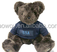 logo giveaway toy plush stuffed soft Bear In A Dark Blue Air Force Sweater t-shirt bandana custom imprinted gift toy
