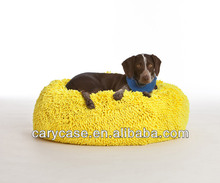 Chenille Yarns dog beds, pet beanbag cushion in 3 colors, yellow, green blue