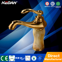 Luxury Europea style gold jade basin faucet