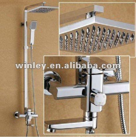 Montado en la pared de la ducha termost tica mezclador con for Manija para ducha
