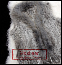 Mosbeer Women Cheap Real Knitted Rabbit Fur Vest with Raccoon Fur Collar