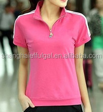 2015 Summer short sleeves design ladies sport popular cotton polo t shirts with moidture transfer function