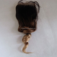 100 human hair best selling blonde hair bundles with lace closure