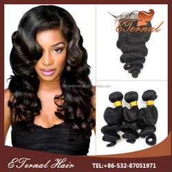 Brazilian loose deep wave hair weave 22 inch human hair weave extension with silk closure