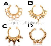 Women fake septum clicker nose ring non piercing body jewel/fake nose ring/gold nose ring/non piercing nose ring