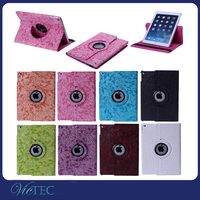Fancy flower pattern 360 degree rotate smart sleep and wake up function case for ipad air