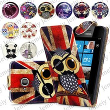 Fashion Patterns Printed Magnetic Top Flip PU Leather Case Card Holder Wallet Phone Cover Skin For Nokia Lumia 710