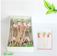 Colorful foil paper party picks with coconut trees