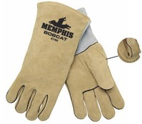 Custom made Natural grey full grain leather welding glove with low price AB Grade