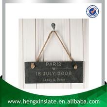 Factory Direct Price Hanging 25*10*0.5cm Half Natural Edge Slate Hanging Chalk Board Slate Sign Gift (Customized Laser Design)