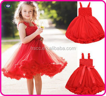 2015 Baby Girl Red Evening Dress Childredn Romantic Princess rose flower dress mesh&lace wholesale