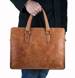 BAUNCE China Manufacturer Vintage Leather Tote Bag Mens Laptop Business Bags