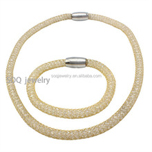 Wholesale China Cheap Sale Stainless Steel Hollow Mesh Chain Necklace and Bracelet Jewelry Set